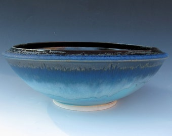 Salad bowl - Serving bowl - Black and Turquoise - Pasta bowl - Made to Order