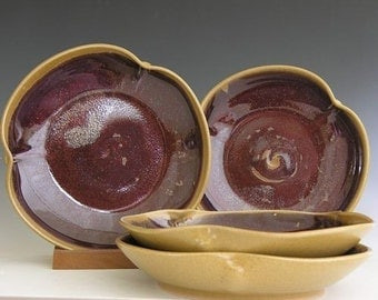 Poppy Pasta Bowls - Made to Order - Honey Yellow Copper Red - Set of 4