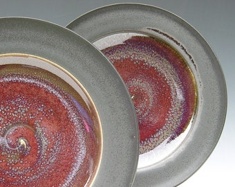 Ceramic Dinner Plates - Made to Order - Copper Red Honey Yellow Matte Black Pottery - Set of 2