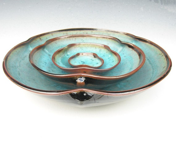 Nesting Bowl Set- Made to Order - Turquoise Brown Black Ceramic Pottery - Set of 4