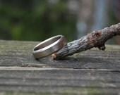 14kt White Gold 7mm wide Hammered Beveled Wedding Band