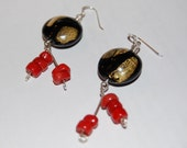 Gold Inlaid Glass Beads with Red Coral Earrings
