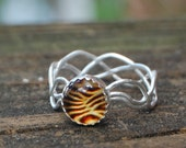 Amber Set Silver Vine Woven Band