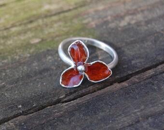 Blood Orange Hand Carved Enameled Fine Silver Flower Ring