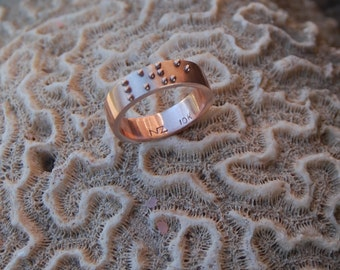 "Commitment Band Rose Gold ""Love"" Braille Ring, Anniversary Ring, Wedding Band"