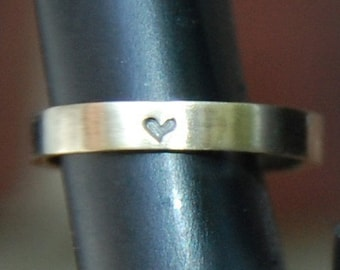 Heart commitment band, promise ring- 3mm Yellow Gold Heart Wedding Band