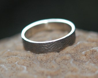 White Gold 5mm Wood Grain Textured Wedding Band with engraving