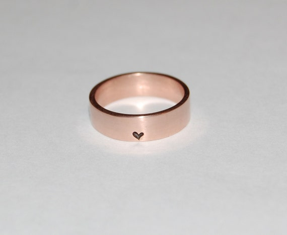 Rose Gold Heart Wedding band, Commitment band, Little, little bit of Heart Rose Gold Ring, his and her matching rings        Update your settings