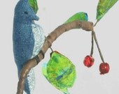 Bluejay on cherry branch mixed media mobile