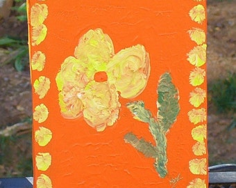 Little Flower -5 x 7  Original Acrylic on Stretched Canvas