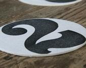 Letterpress Numbers Coasters: Custom listing for Christopher Ammen