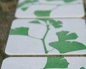 Ginkgo - set of 10 letterpress coasters