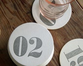 Wedding Table Number Coasters: Double Digit Letterpress Coasters (160ct)