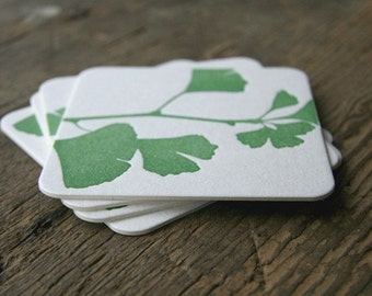 Ginkgo: Letterpress Coasters (set of 10)