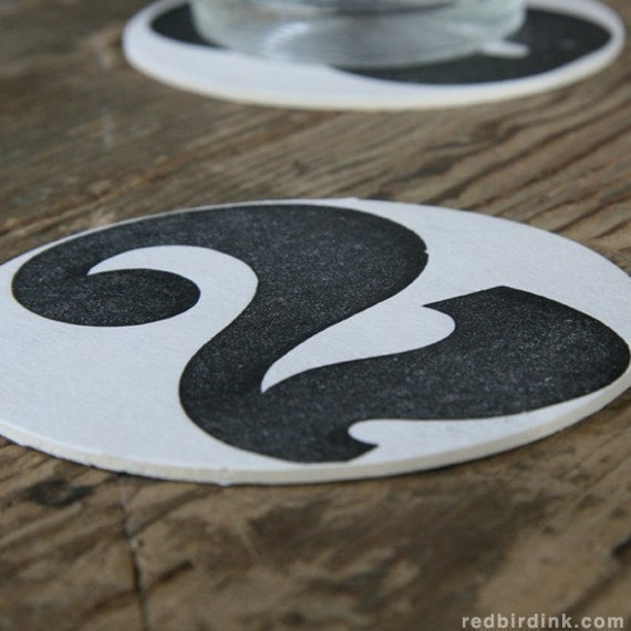 Letterpress Numbers Coasters: Custom listing for Christopher Ammen