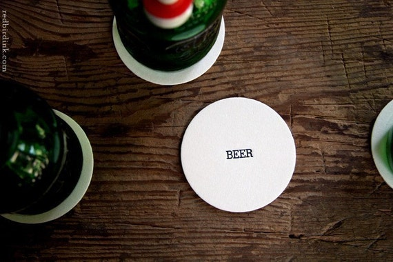Beer Letterpressed Pub Coasters - Set of 4