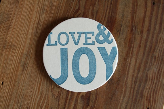 Love and Joy - Set of 4 letterpress coasters