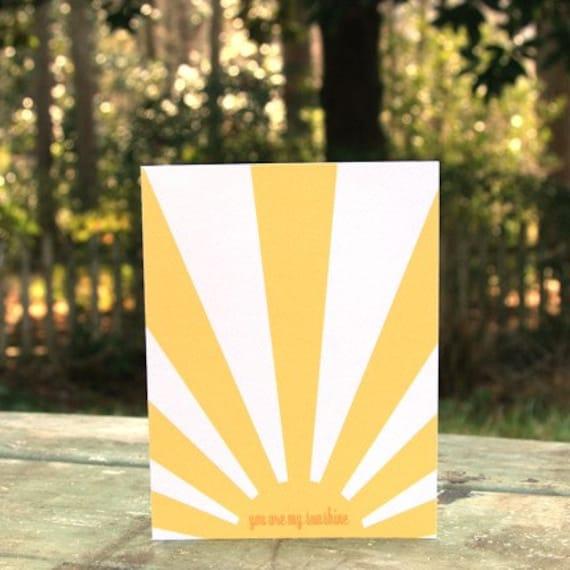 YOU ARE MY SUNSHINE - one sunny folded notecard