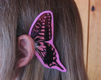 Pink Stained Glass look Fairy Ear Wings