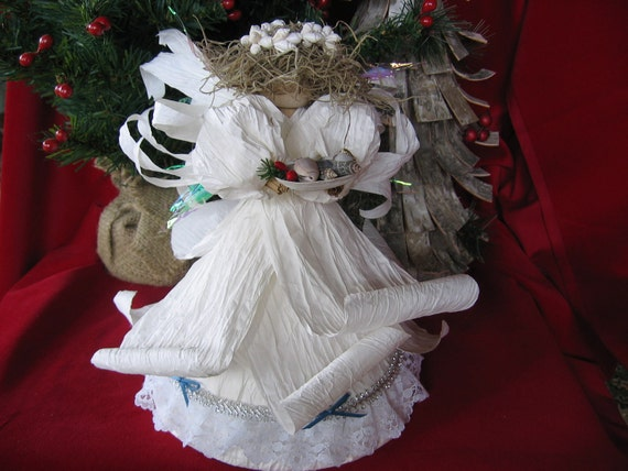 Coastal Christmas Angel Tree Topper By Artlandish On Etsy