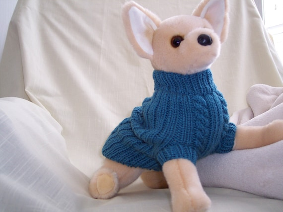 Hand Knit Dog Sweater,Teal,Small,Item288