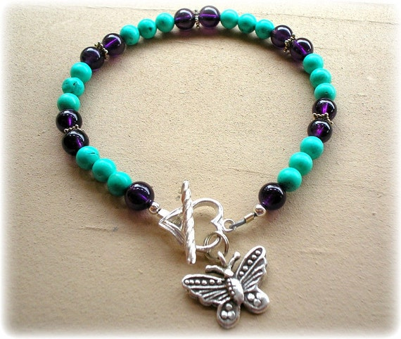 Butterfly Turquoise, Amethyst and Sterling Silver Bracelet