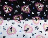 Kitty Love Japanese Cotton Fabric (black or white)