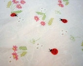 SALE LAST PIECE Lady Bug and Flower Cotton Fabric