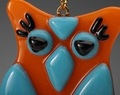 The Little Owl fused glass ornament 1.5 x 2.5 inches, Orange and blue II