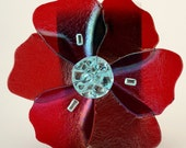 Poppy fused glass ornament, 4 inches,  Red iridescent color