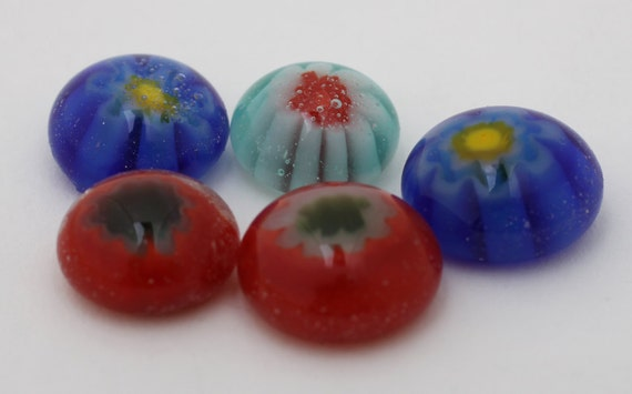 5 Millefiori frit cast fused glass  petite cabochons, 10 mm, 12c