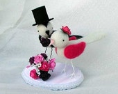 Bride and Groom pair of birds - Custom Order for wedding cake topper