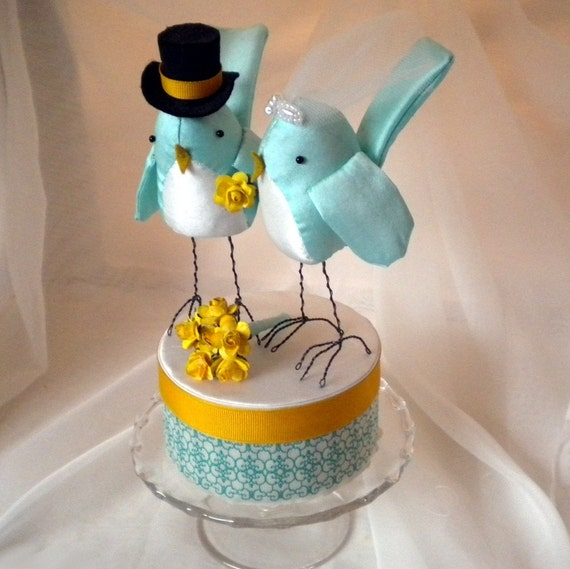 teal wedding cake toppers cake topper light teal and gold birds ready to by 20789