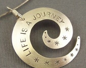 Sterling Silver LIFE IS A JOURNEY Spiral Pendant
