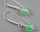 Green and Clear Glass Dangle Earrings