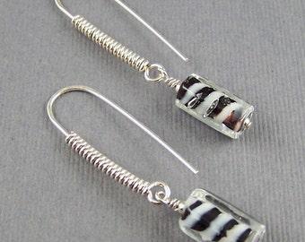 Black and White Zebra Glass Dangle Earrings