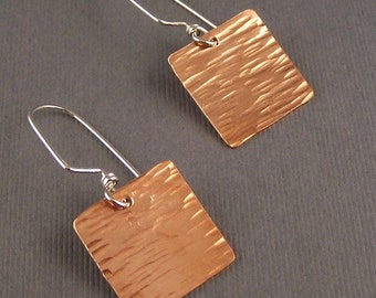 Hammered Copper Square with Sterling Silver Earrings