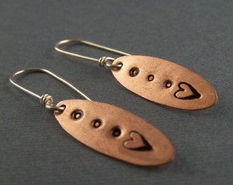 Copper Ellipses with Circles and a Heart and Sterling Silver Earrings