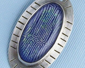 Sterling Silver and Blue Circuit Dichroic Glass Oval Pendant