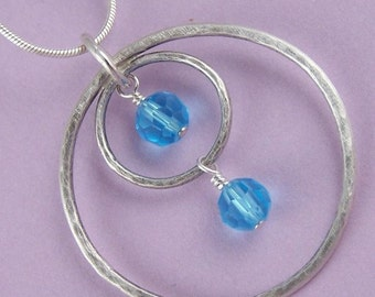 Aqua Crystal and Sterling Silver Necklace