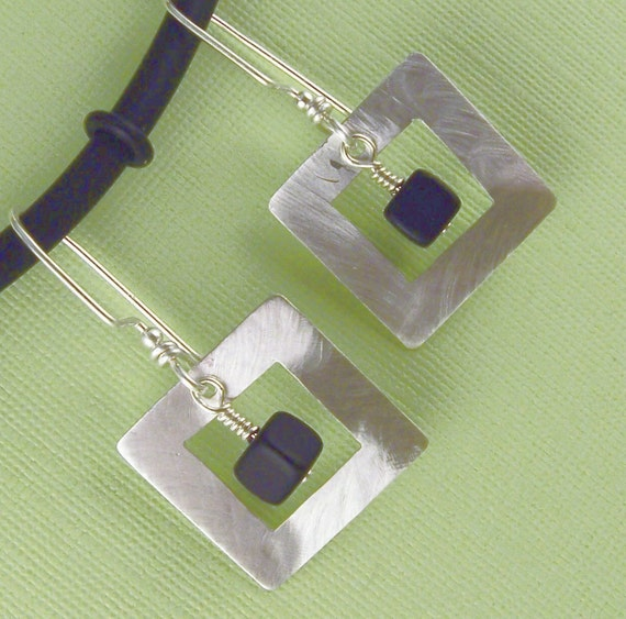 Sterling Silver Square in Square with Onyx Earrings