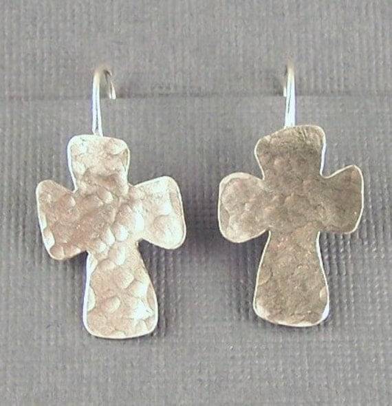 Textured Cross Sterling Silver Handcrafted  Earrings