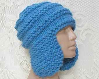 Sky medium blue earflap hat, trapper cap, winter hat, toque, knit hat, beanie hat, blue hat, ski snowboard, skateboard hat, mens womens hat