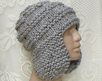 Grey marble tweed earflap hat, trapper cap, ski snowboard, grey hat, beanie hat, skateboard, winter hat, mens womens hat, toque, chemo cap
