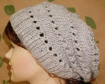 Silver grey lacy slouchy hat, winter knit hat, grey hat, slouchy beanie, lacy hat, ski snowboard, skateboard, knit toque, womens hat, chemo