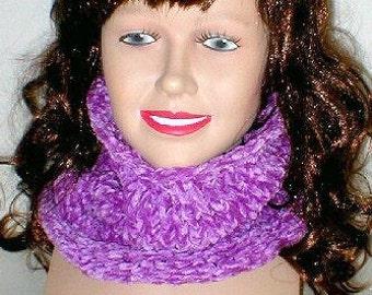 Bulky knit chenille cowl, amethyst purple, neckwarmer, circle scarf, knit cowl, winter wear, ski snowboard, garden cottage, womens mens cowl