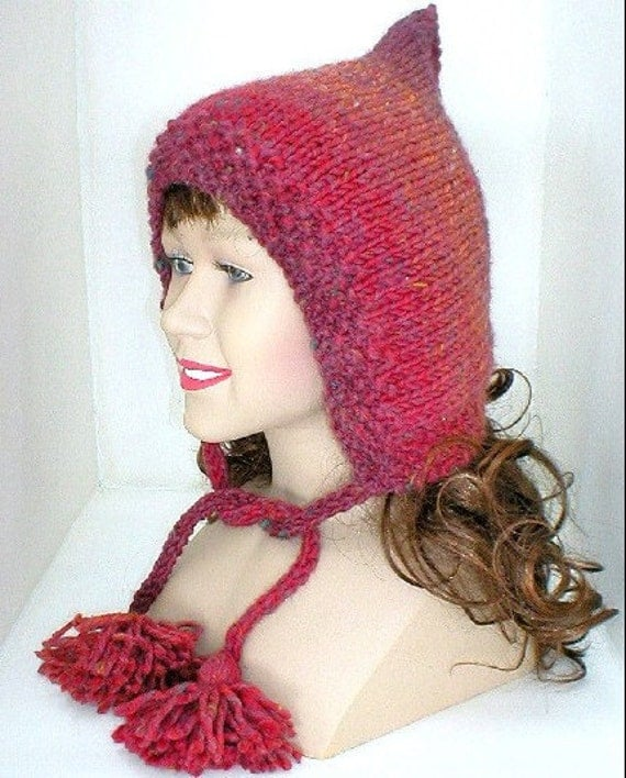 Hand Knit Hat - Fairy Hood - Pixie Hat - Knit in Cranberry Pumpkin Grape Stripes - Wool Blend Yarn - Women Fashion Accessories