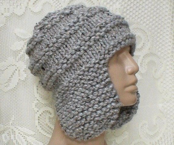 Grey marble tweed earflap hat, trapper cap, ski snowboard, grey hat, hand knit hat, skateboard, winter hat, mens womens hat, toque, hiking
