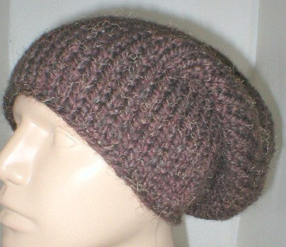 Slouchy hat, heather, wood, brown, knit hat, bulky knit hat, men's hat, women's hat, winter hat, ski snowboard hat, knit hat, brown hat
