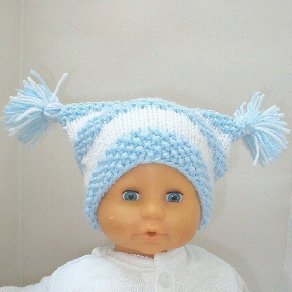 Knit Hat Powder Blue and White Baby Jester Cat Sack Hat With Tassels - Newborn to 6 Months - SALE